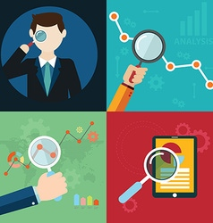 Collection of flat and colorful search SEO and vector