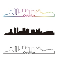 Colombo skyline linear style with rainbow vector image