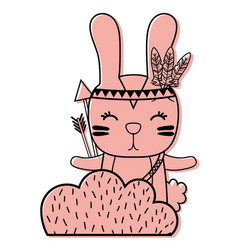 Color ethnic rabbit animal in back of bushes plant vector