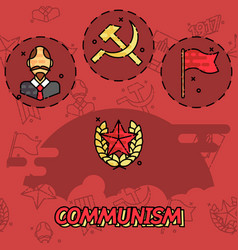 Communism flat concept icons vector