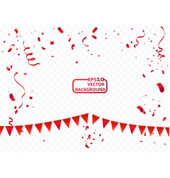 confetti and red ribbons concept celebration vector image