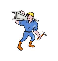Construction steel worker carry i-beam cartoon vector
