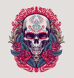dia de los muertos mexican skull vector image