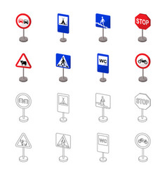 Different types of road signs cartoonoutline vector