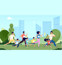 family marathon people jogging woman kids sport vector image