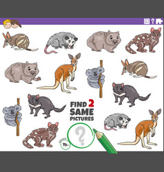 Find two same animal characters task for children vector
