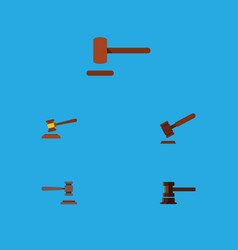 flat icon court set of hammer legal defense and vector image