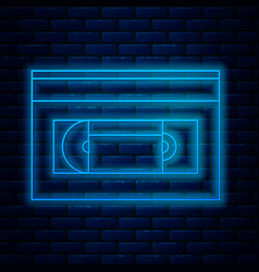 Glowing neon line vhs video cassette tape icon vector