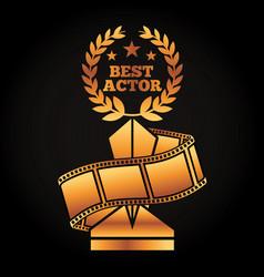 Gold award trophy with laurel best actor strip vector