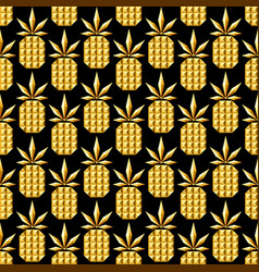 golden jewelry pineapple seamless pattern vector image