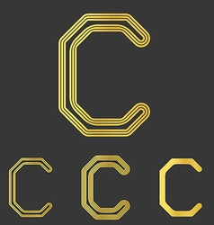Golden line letter c logo design set vector