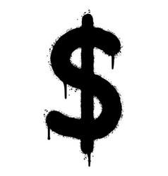 Graffiti dollar icon sprayed isolated on white vector