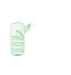 Green battery and plant form lines and triangles vector