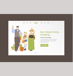 Group happy family holding zero waste products vector