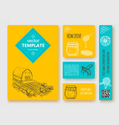 hand drawn honey flayer templates vector image