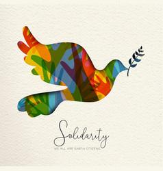 Human solidarity card bird and diverse hands vector