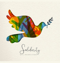 human solidarity card of bird and diverse hands vector image