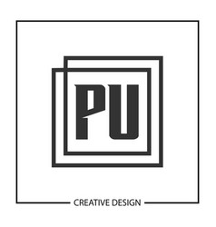 initial pu letter logo template design vector image