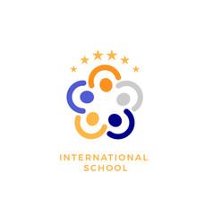 International school social community flat vector