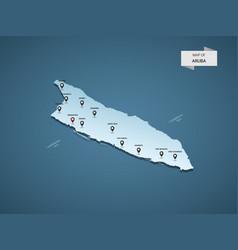 Isometric 3d aruba map concept vector