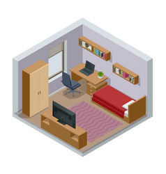 Isometric modern teenager room interior vector