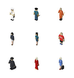 Isometric person set of seaman hostess detective vector