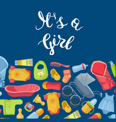 it is girl with lettering vector image