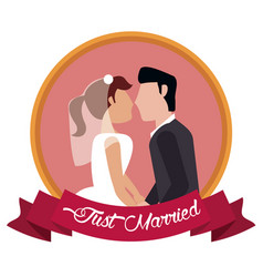 Just married couple together label vector