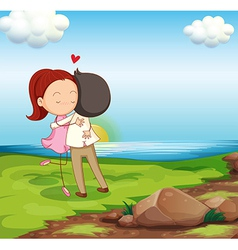 Lovers dating at the riverbank vector image