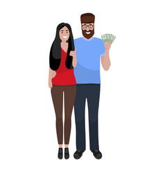 loving couple rejoices at money financial vector image