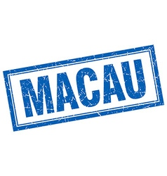Macau blue square grunge stamp on white vector