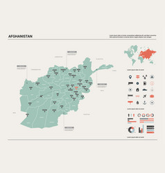 Map afghanistan high detailed country vector