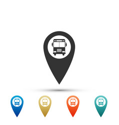 map pointer with bus icon on white background vector image