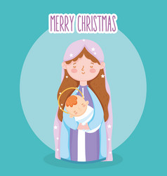 Mary with bain arms manger nativity merry vector