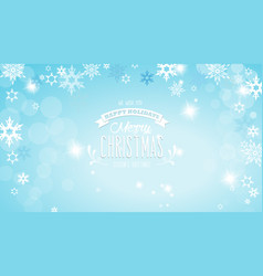 merry christmas with lots of snowflakes on blue vector image