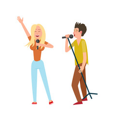 musicians man and woman singing together duo vector image