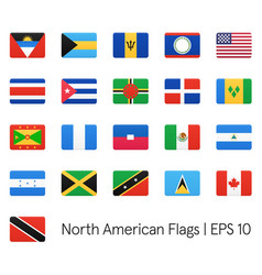 North american flags icons set vector