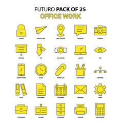 office work icon set yellow futuro latest design vector image