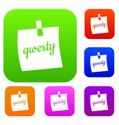 paper sheet with text qwerty set color collection vector image