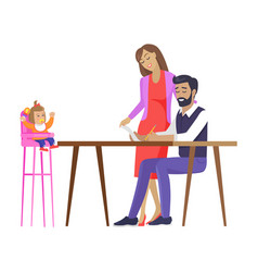 Parents child family meeting vector