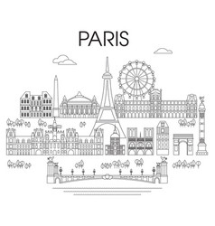 Paris skyline line art 9 vector