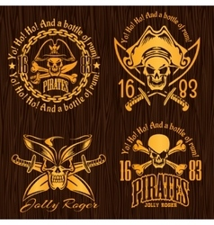 Pirate labels set - design for badges logos and t vector