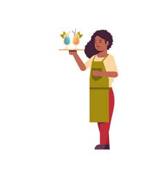 Professional waitress holding serving tray with vector