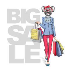 retro hipster animal girl koala big sale hipster vector image