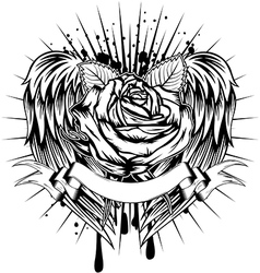 rose and wings vector image vector image