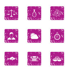 Seafood restaurant icons set grunge style vector