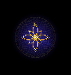 Seed life symbol sacred geometry lotus logo vector