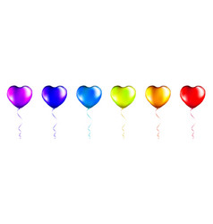 Set colorful foil heart shaped balloons vector