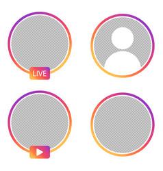 Set instagram stories icons live vector