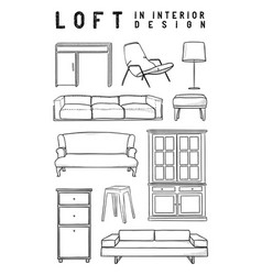 set of 10 interior items in loft style in the vector image